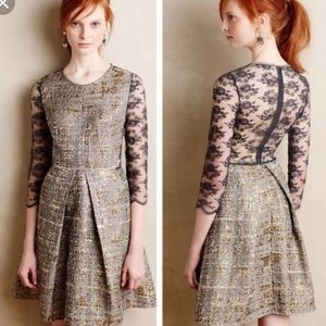 Anthropologie Gilt Jacquard Fit & Flare Dress S